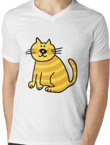 Yellow Cat Mens V-Neck T-Shirt