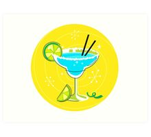 Blue Margarita: Retro cocktail icon on yellow background Art Print