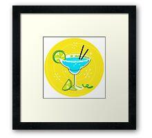 Blue Margarita: Retro cocktail icon on yellow background Framed Print