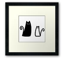 Stylized Black and White Cat Framed Print