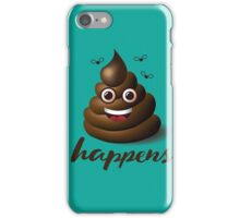 Shit happens emoticon on aqua blue. iPhone Case/Skin