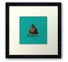 Shit happens emoticon on aqua blue. Framed Print