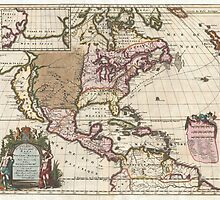 Vintage Map of The Americas (1698)  by BravuraMedia