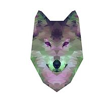 Polygonal Wolf: Green and Purple Photographic Print