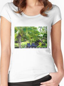 Beautiful tropical landscape Women's Fitted Scoop T-Shirt
