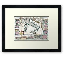 Vintage Map of Italy (1706) Framed Print