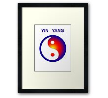 Yin Yang icon with text Framed Print