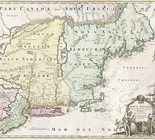 Vintage Map of New England (1716) by BravuraMedia