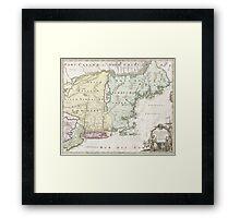 Vintage Map of New England (1716) Framed Print