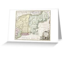 Vintage Map of New England (1716) Greeting Card