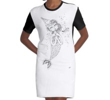 Mermaid Witch Graphic T-Shirt Dress