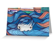 Sea Girl Graffiti Wall Greeting Card