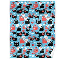 Graphic pattern with lovers cats Poster