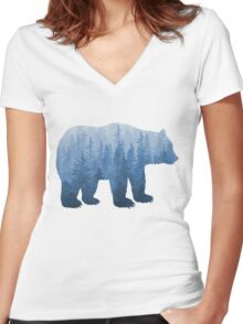 Misty Forest Bear - Blue Women's Fitted V-Neck T-Shirt