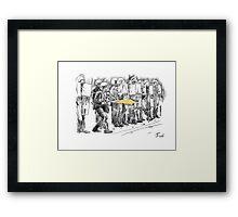 riot cops study Framed Print