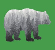 Misty Forest Bear - Black and White One Piece - Short Sleeve