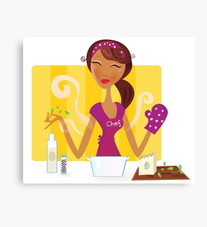 Woman is cooking meal in the kitchen. Sexy woman chef is preparing dinner in the kitchen. Canvas Print