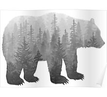 Misty Forest Bear - Black and White Poster