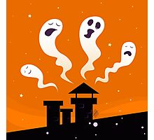Halloween night: Spooky ghost characters isolated on orange background Photographic Print