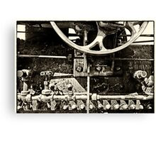 Steam Engine Parts Vintage BW Canvas Print
