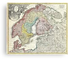 Vintage Map of Scandinavia (1730)  Canvas Print