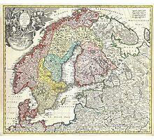 Vintage Map of Scandinavia (1730)  Photographic Print