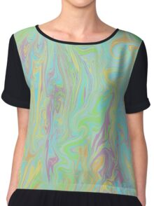 Abstract in Turquoise Chiffon Top
