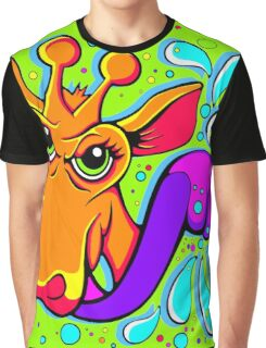 Giraffe Lick Colour Splash  Graphic T-Shirt