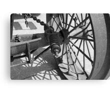 Steam Engine Wheel 4 BW Canvas Print