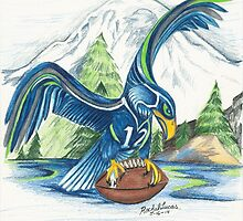 Mount Rainer and the Seahawk by artbyrachelluca