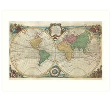 Vintage Map of The World (1744) Art Print