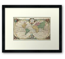 Vintage Map of The World (1744) Framed Print
