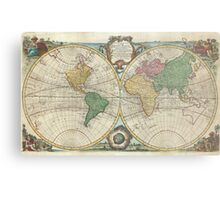Vintage Map of The World (1744) Metal Print