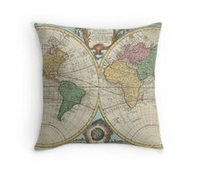 Vintage Map of The World (1744) Throw Pillow