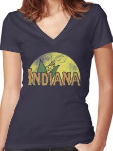Vintage Indiana Women's Fitted V-Neck T-Shirt