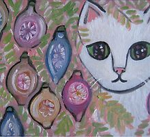 Shabby Christmas Cat by sharonkfolkart