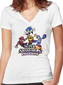 Super Smash Soccer Women's Fitted V-Neck T-Shirt
