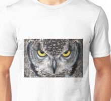 Look Into My Eyes: (African Spotted Eagle Owl) Unisex T-Shirt
