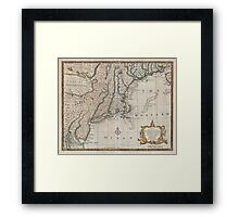 Vintage Map of The New England Coast (1747) Framed Print