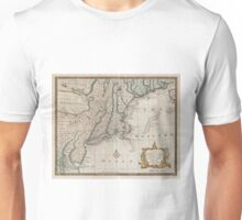 Vintage Map of The New England Coast (1747) Unisex T-Shirt