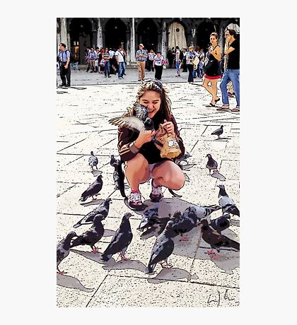 Pigeon Lover Of San Marco, Photo / Digital Painting  Photographic Print