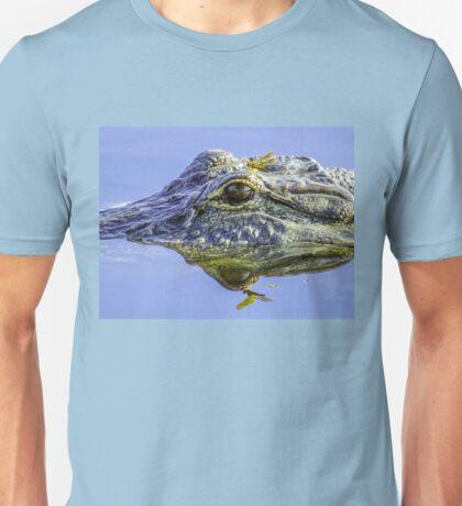 Dragonfly on the alligator eye Unisex T-Shirt