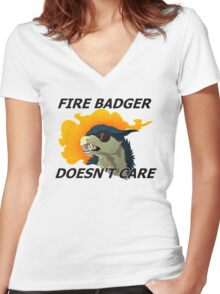 Fire Badger Doesn't Care Women's Fitted V-Neck T-Shirt