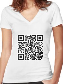 Rickroll QR Code Women's Fitted V-Neck T-Shirt