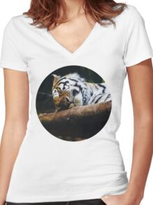 Sleeping Tiger Women's Fitted V-Neck T-Shirt