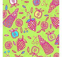 Tutti Frutti on Lime Green Photographic Print