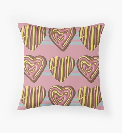 Gingerbread Love on Pink Throw Pillow