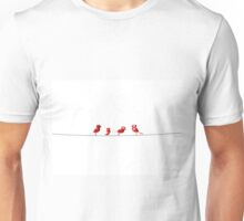 3d rendering red birds on a wire. Unisex T-Shirt