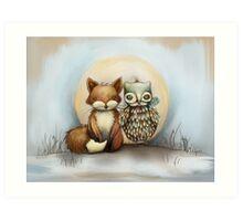 fox and owl Art Print