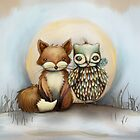 fox and owl by © Cassidy (Karin) Taylor